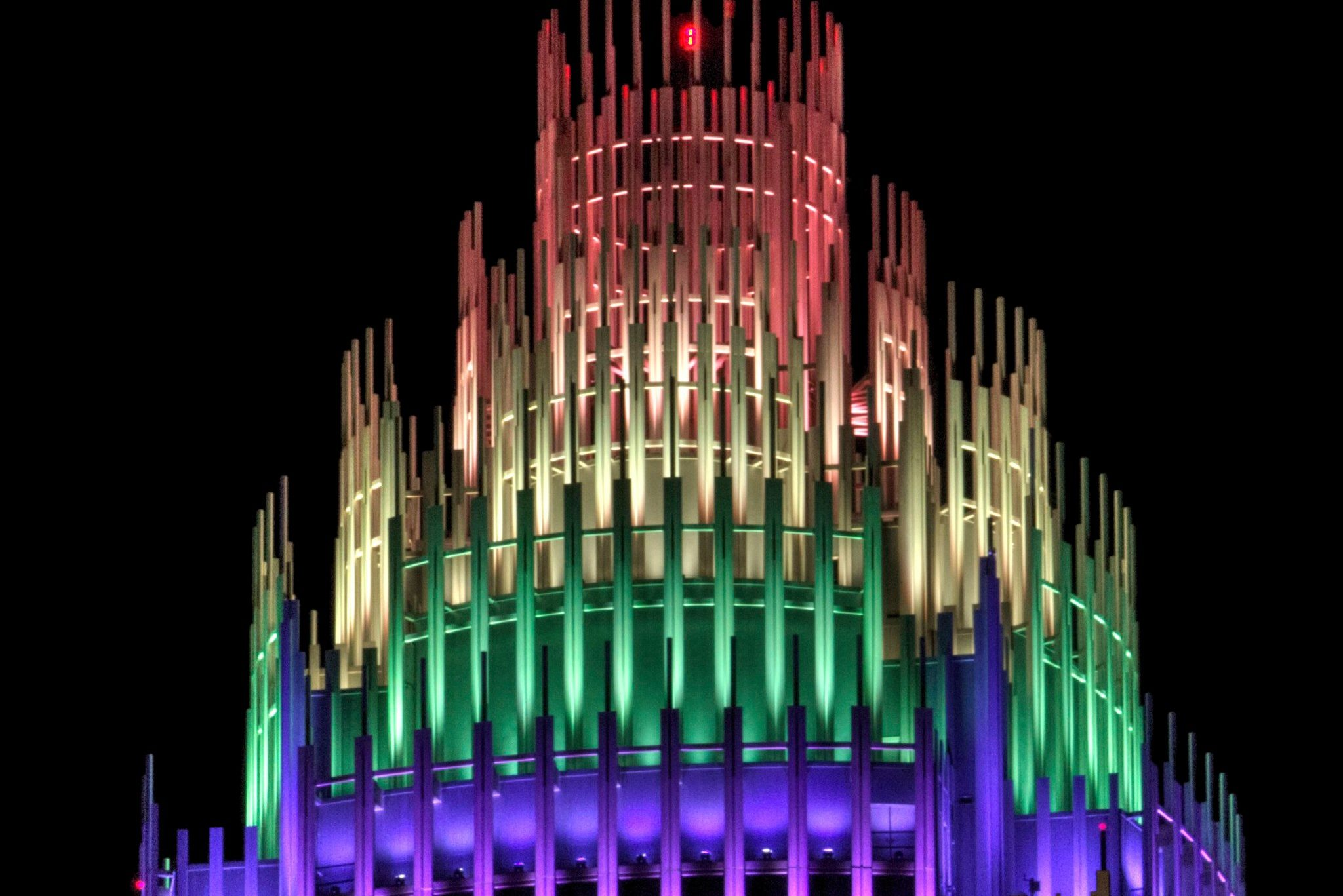 Pride Month Kicks Off As The Bank Of America Building Lights Up In Rainbow